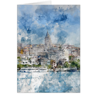 Cityscape with Galata Tower over the Golden Horn Card