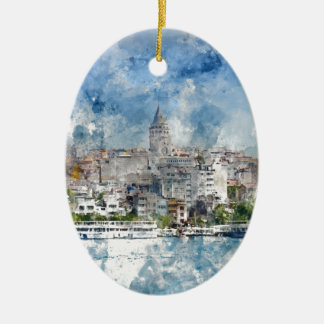 Cityscape with Galata Tower over the Golden Horn Ceramic Oval Ornament