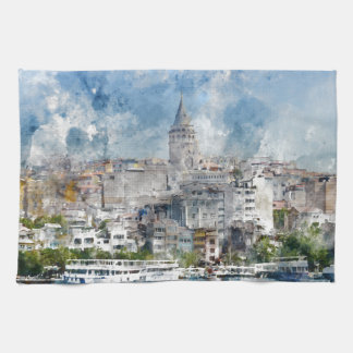 Cityscape with Galata Tower over the Golden Horn Hand Towels