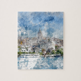 Cityscape with Galata Tower over the Golden Horn Jigsaw Puzzle