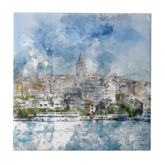 Cityscape with Galata Tower over the Golden Horn Tiles