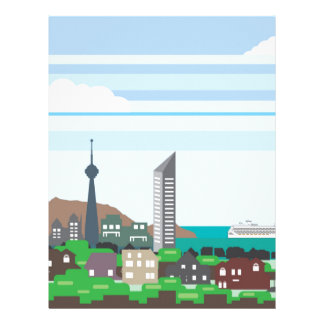 Cityscape with Lakefront Sea Ocean Vector homes an Personalized Letterhead