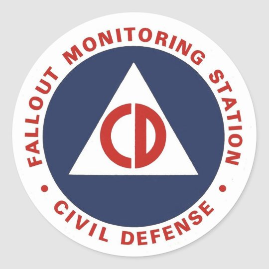 Civil Defence Fallout Monitoring Station Decal Classic Round Sticker