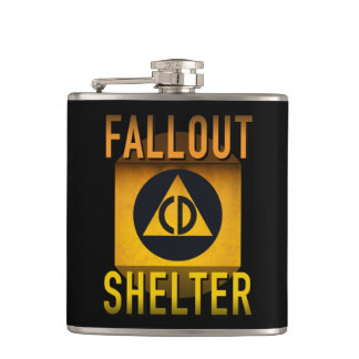 Civil Defense Fallout Shelter Atomic Age Grunge : Hip Flask