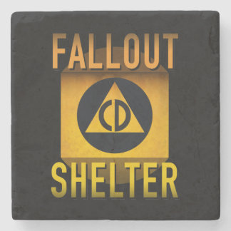 Civil Defense Fallout Shelter Atomic Age Grunge : Stone Beverage Coaster
