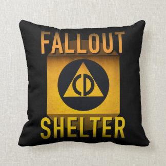 Civil Defense Fallout Shelter Atomic Age Grunge : Throw Pillow