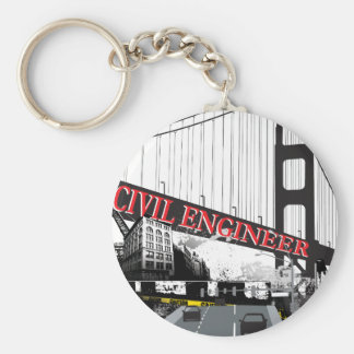 Civil Engineer Basic Round Button Keychain