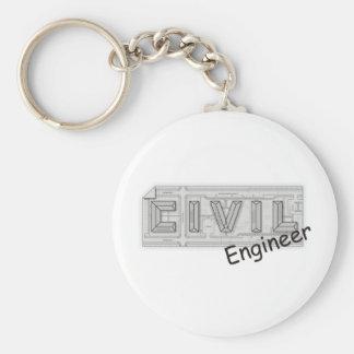 CIVIL Engineer Basic Round Button Keychain