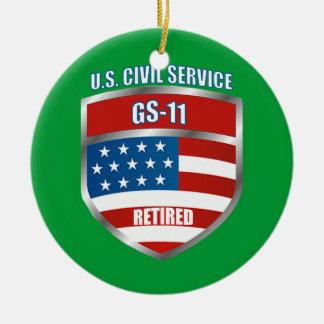 Civil Service GS-11 Retired Shield Ceramic Ornament