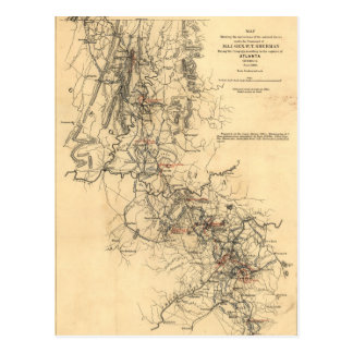 Civil War Atlanta Campaign Map September 1, 1864 Postcard