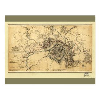 Civil War Atlanta Ga. Map (July 19 - Aug 26 1864) Postcard