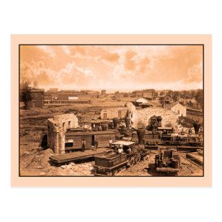 Civil War, Atlanta Roundhouse destroyed, 1866 Postcard