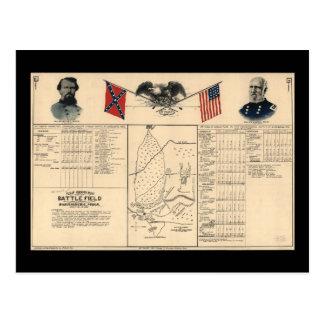 Civil War Battlefield of Harrisburg Map 1864 Postcard