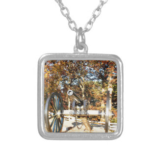 Civil War Cannon Square Pendant Necklace