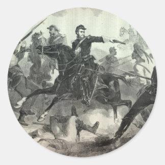 Civil War cavalry attack Classic Round Sticker