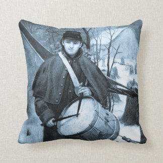 Civil War Drummer Boy Vintage Throw Pillow