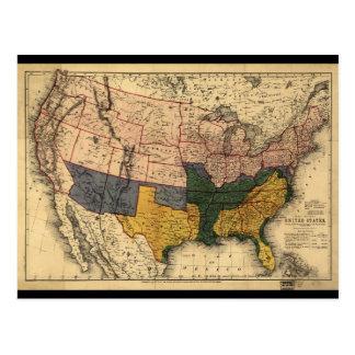 Civil War Era Map of the United States (Jan 1864) Postcard