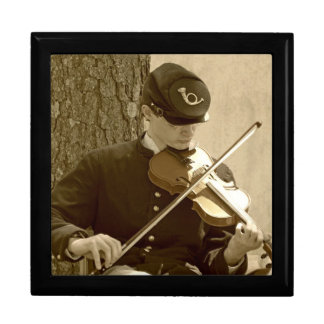 Civil War Fiddle Player Jewelry Box