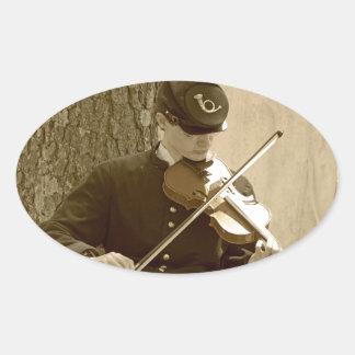 Civil War Fiddle Player Oval Sticker