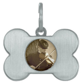 Civil War Fiddle Player Pet Tag