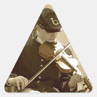 Civil War Fiddle Player Triangle Sticker