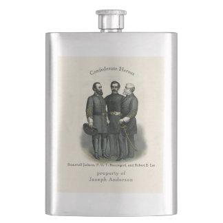 Civil War Heroes Stonewall Beauregard Lee Hip Flask