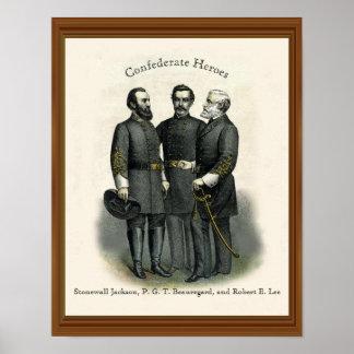 Civil War Heroes Stonewall Beauregard Lee Poster