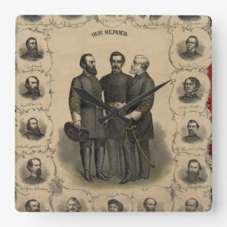 Civil War Heroes USA American Square Wall Clock