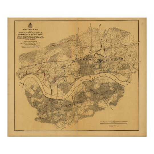 Civil War Knoxville Tennessee Map (1864) Poster