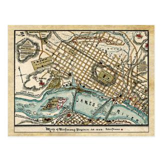Civil War Map of Richmond, Virginia in 1863 Postcard