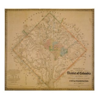 Civil War Map of Washington DC 1862 Poster