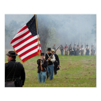 Civil War Reenactment - Flag Boy Poster