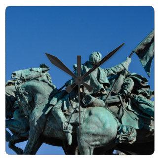Civil War Soldier Statue in Washington DC_ Square Wall Clock