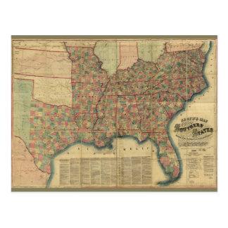 Civil War Southern States Map by J. Lloyd (1862) Postcard