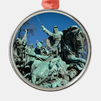 Civil War Statue in Washington DC Silver-Colored Round Ornament