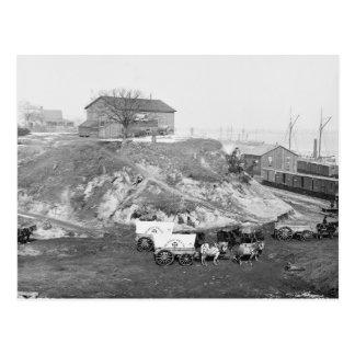 Civil War Supply Train: 1865 Postcard