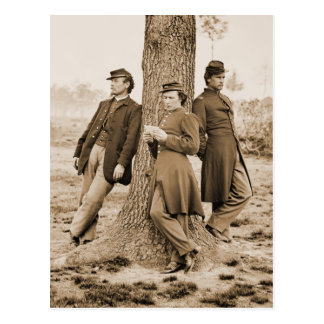 Civil War Three Officers Postcard