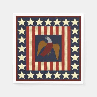Civil War Union Eagle & Stars Quilt Square Napkins