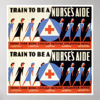 Civilian Defense - Train to be a Nurse's Aid - WPA Poster