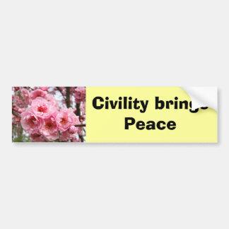 Civility brings Peace bumper stickers Blossoms