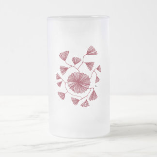 Civishi #123 Red, Abstract Sea Fan 16 Oz Frosted Glass Beer Mug