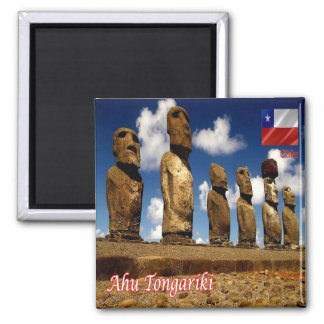 CL - Chile - Isla De Pascua - Ahu Tongariki Square Magnet