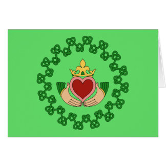 Claddagh and Green Knotwork Card