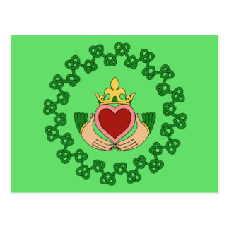 Claddagh and Green Knotwork Postcard