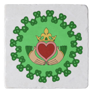 Claddagh and Green Knotwork Trivet