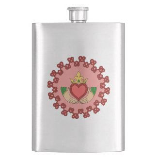 Claddagh and Red Knotwork on Pink Hip Flask