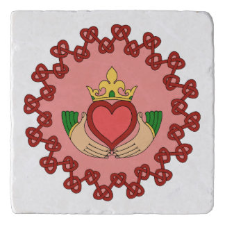 Claddagh and Red Knotwork on Pink Trivet