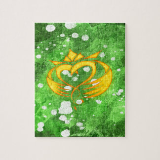 Claddagh Irish Celtic Splatter Jigsaw Puzzle