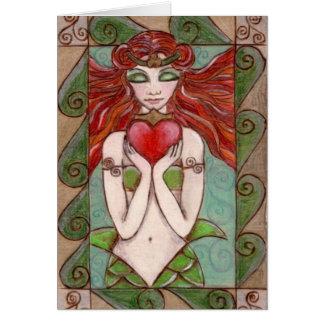 claddagh mermaid greetings card