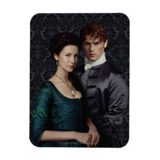 Claire And Jamie Damask Portrait Rectangular Photo Magnet